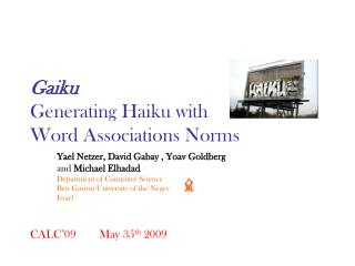 Gaiku Generating Haiku with Word Associations Norms