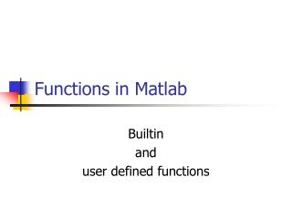 Functions in Matlab