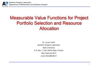 Measurable Value Functions for Project Portfolio Selection and Resource Allocation