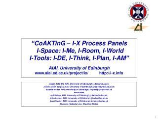 Austin Tate (PI); AIAI, University of Edinburgh; a.tate@ed.ac.uk