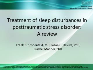 Treatment of sleep disturbances in posttraumatic stress disorder:  A review