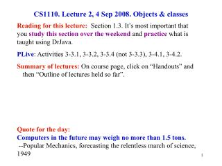 CS1110. Lecture 2, 4 Sep 2008. Objects & classes