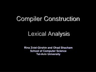 Compiler Construction  Lexical Analysis