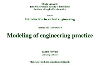 Course Introduction to virtual engineering