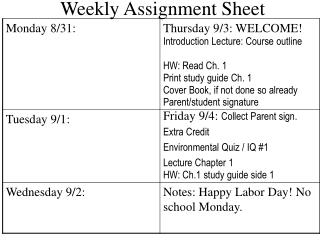 Weekly Assignment Sheet