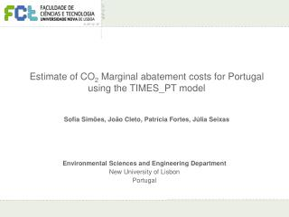 Estimate of CO 2  Marginal abatement costs for Portugal using the TIMES_PT model