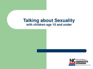 Talking about Sexuality  with children age 10 and under