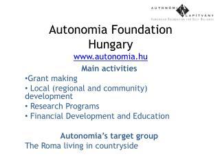 Autonomia Foundation Hungary autonomia.hu