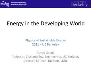 Energy in the Developing World