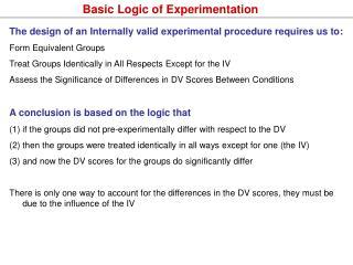 Basic Logic of Experimentation