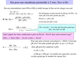 Em pour une membrane perméable à 2 ions, Na+ et K+