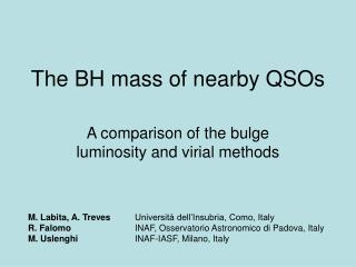 The BH mass of nearby QSOs