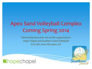 Apex Sand Volleyball Complex  Coming Spring 2014