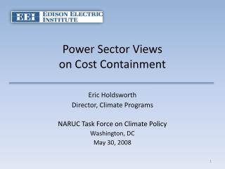 Power Sector Views  on Cost Containment