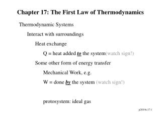 Chapter 17: The First Law of Thermodynamics