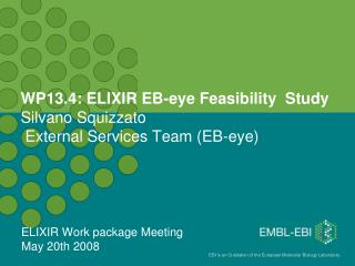 WP13.4: ELIXIR EB-eye Feasibility  Study  Silvano Squizzato  External Services Team (EB-eye)