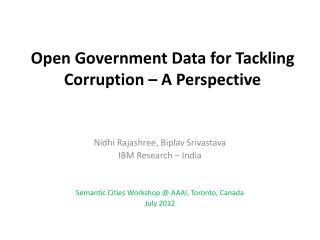 Open Government Data for Tackling Corruption � A Perspective