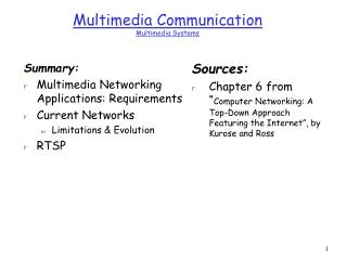 Multimedia Communication  Multimedia Systems