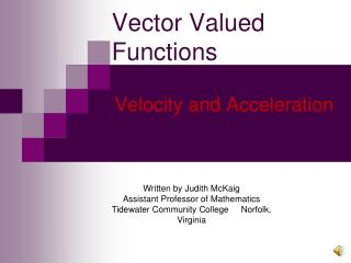 Vector Valued Functions