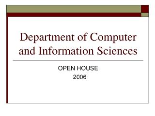 Department of Computer and Information Sciences