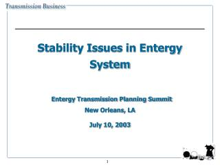 Stability Issues in Entergy System    Entergy Transmission Planning Summit  New Orleans, LA  July 10, 2003