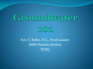 Groundwater 101