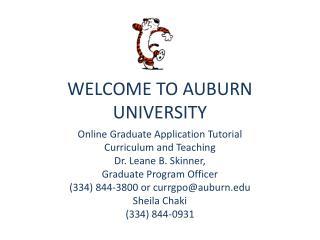 WELCOME TO AUBURN UNIVERSITY
