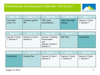 Professional Development Calendar: HU Cycle 1
