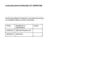 La Escuela primaria Solidaridad, CCT 15DPR2730Z