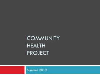 Community Health Project