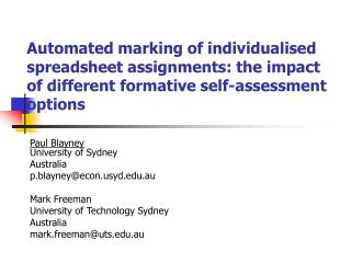 Automated marking of individualised spreadsheet assignments: the impact of different formative self-assessment options