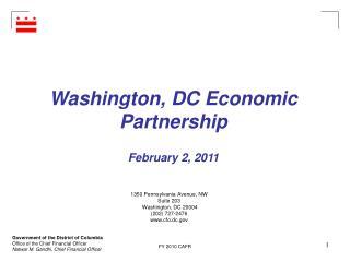 Washington, DC Economic Partnership February 2, 2011