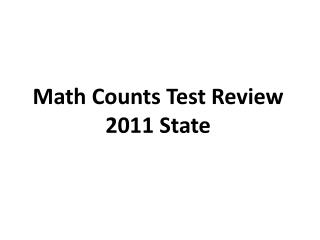 Math Counts Test Review 2011 State