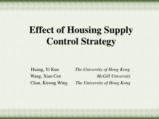 Effect of Housing Supply Control  Strategy