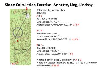 Determine the Average Slope Between: A  &  C = Rise= 3 00-200=100 ft Distance (run)= 5,750 ft