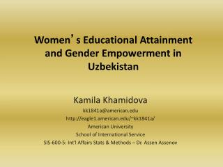 Women ' s Educational Attainment and Gender Empowerment in Uzbekistan