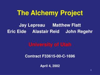 The Alchemy Project