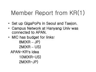 Member Report from KR(1)