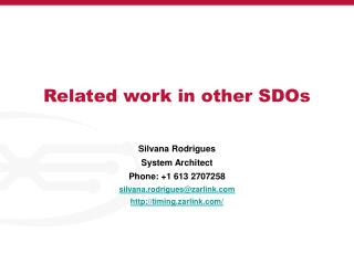 Related work in other SDOs