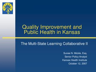 Quality Improvement and Public Health in Kansas