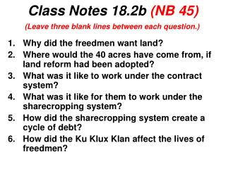 Class Notes 18.2b  (NB 45)