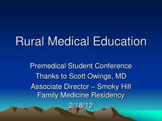Rural Medical Education