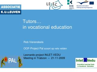Tutors… in vocational education