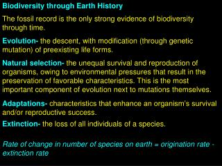 Biodiversity through Earth History