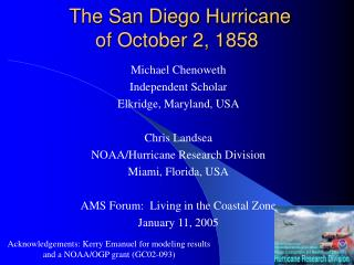 The San Diego Hurricane of October 2, 1858