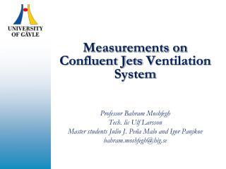Measurements on Confluent Jets  V entilation System Professor Bahram Moshfegh