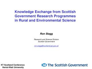 Knowledge Exchange from Scottish Government Research Programmes in Rural and Environmental Science