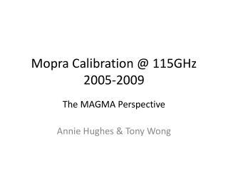 Mopra Calibration @ 115GHz 2005-2009