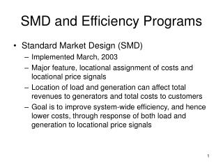SMD and Efficiency Programs