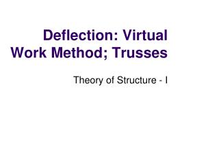 Deflection: Virtual Work Method; Trusses
